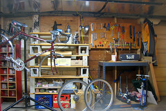 newly organized bike work area (Patrick Barber) Tags: house bicycle patrick bikes workshop surly wrench toolboard