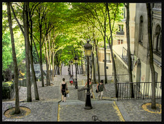 down from Montmartre (alessio grazi) Tags: street people paris color tree scale colors girl beautiful field grass walking interestingness spring amazing women streetlight perfect colours streetlights top country steps paisaje montmartre paisagem best unesco most step campo paysage lampioni parigi viewed favorited faved  pejzaz landschaftsmalerei abigfave superbmasterpiece pentaxs50 landskapsmaleri  alessiograzi