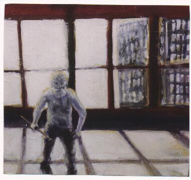 Jacob Kahn in gevecht met 'n wit doek