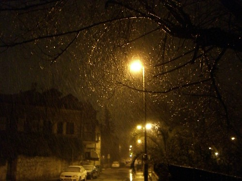 Street in snow by Ahoova