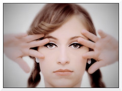 (monsters.monsters) Tags: portrait girl face female mouth nose eyes hands nikon sister fingers teenager sibling vignette treatment d80