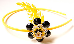 Yellow and Black Vintage Flowers Headband