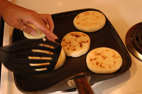 arepas - time to turn these over