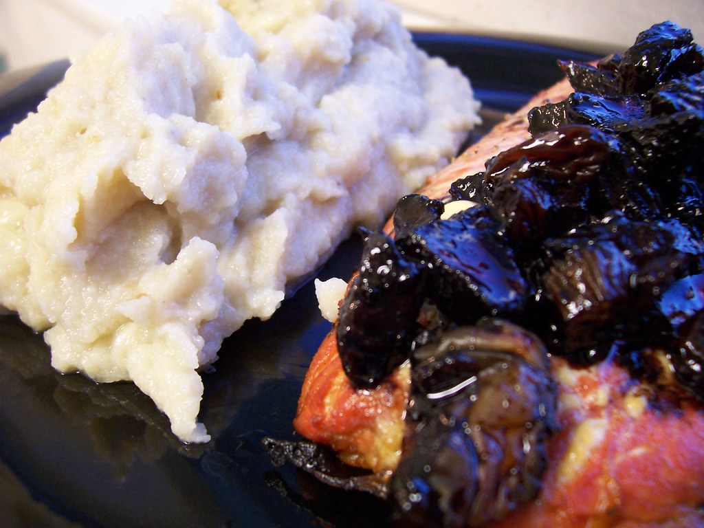 Wild sockeye salmon with dried fruit balsamic glaze and cauliflower purée I