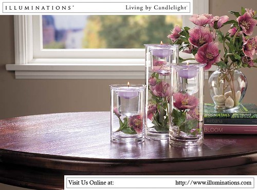 Candles with pink blooms