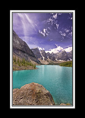 Moraine Lake (Glenbourne At Home) Tags: lake canada colour alberta blackframes soe banffnationalpark morainelake valleyofthetenpeaks naturesfinest rockflour supershot platinumphoto superaplus aplusphoto summer2008 theunforgettablepictures goldstaraward davincitouch glaciallyfedlakes