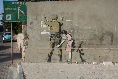 Graffiti by Banksy in the Israeli-occupied Bethlehem