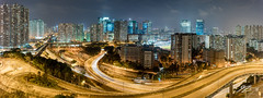 Artificial Currents (Tim van Zundert) Tags: choitak shoppingcentre panorama photography roads lighttrails city cityscape skyline landscape night evening longexposure hongkong kowloonbay kowloon china sony a7r voigtlander 21mm ultron