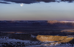 Grandview Moon (courtney_meier) Tags: canyonlands canyonlandsnationalpark coloradoplateau landscape nationalpark usnationalpark utah winter dawn desert desertsnow fullmoon magichour moon moonset morning redrockcountry redrocks snow snowscape sunrise
