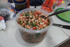 shrimp ceviche (AtotheNA) Tags: forest river table woods shrimp plastic mexican socal ceviche kernriver tostadas