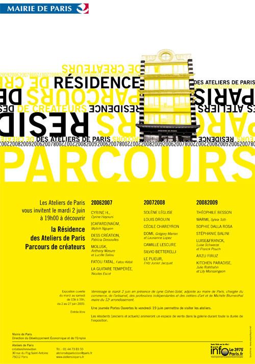 Flyer Parcours Créateurs - Ateliers de Paris - Juin 2009