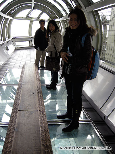 Scary... standing on transparent glass tiles