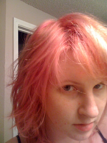 light pink hair color. hair colour and adds pink