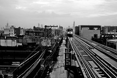 (Brian Hagy) Tags: blackandwhite bw white chicago black public skyline train cta tracks il transit elevated transporation