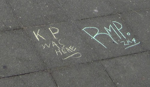 Chalk Based Discussion Forum on Brighton Beach - Detail