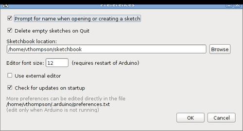 Arduino Preferences Dialog