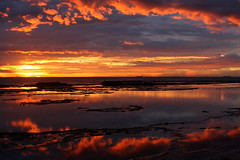 I was stood in my back yard........ (pominoz) Tags: reflection texture water clouds sunrise newcastle rocks with grandmother nsw dudley sos thumbsup reflexions invited bigmomma babymomma dudleybeach abigfave theperfectphotographer herowinner
