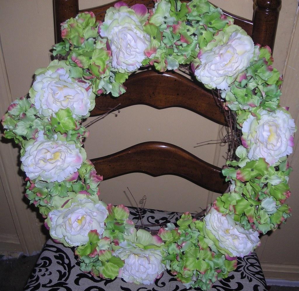 Green Hydrangea and Cream Peony Wreath