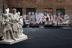 In the Heavens Amongst the Idols (Brian Hagy) Tags: chicago rooftop pose graffiti il d30 wyse
