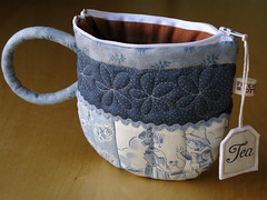 TeaCup pouch 107 (PatchworkPottery) Tags: bag tea handmade sewing crafts country fabric pouch zipper quilted patchwork teacup wristlet