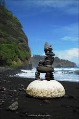 Stone chair architecture (eschborn.photography) Tags: blue white art rock hawaii big high hard large hike cliffs stacking bigisland difficult piles stoneart blacksandbeach pololuvalley eschborn eschbornphotography