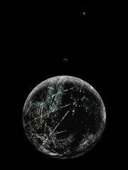 Planet Borauris Ester nightside, with moons (Cyclopedia Of Worlds) Tags: world fiction art illustration space fantasy future planet scifi sciencefiction thefuture spaceart conceptart conworld speculativefiction extrasolar cyclopediaofworlds cowworlds