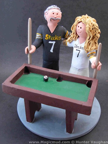 Pool Players Wedding Cake Topper