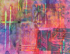 Redefining Pink (Judi Hurwitt) Tags: color painting paper mixedmedia stitching weaving acrylics fibers artsuilting