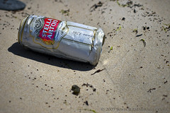 'Washed up' (jerseyimage) Tags: color colour beach horizontal outside outdoors sand day drink can stellaartois damaged washedup dented
