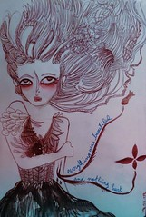 Una Rosa Sin Espinas No Es Natural (P. Mockingjay) Tags: red woman moleskine girl beautiful illustration pencil ink dark watercolor hair was hurt blood eyes dress vampire clash vein nothing friday everthing