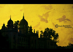 Osmania General Hospital. (SiddharthDasari) Tags: old sunset india black building classic silhouette yellow architecture sunrise canon hospital traffic textures hyderabad oldcity islamic charminar intricate nizam atop generalhospital osmania mughal 1846 canonrebelxs silhou canoneos1000d nizamsetting mizamarchitecture