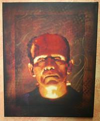 Karloff as Frankenstein (>tony<) Tags: street original art vintage painting stencil acrylic mixedmedia canvas frankenstein layers spraypaint acrylicpaint darkart colorization boriskarloff borris karloff classicmovies kustomkulture