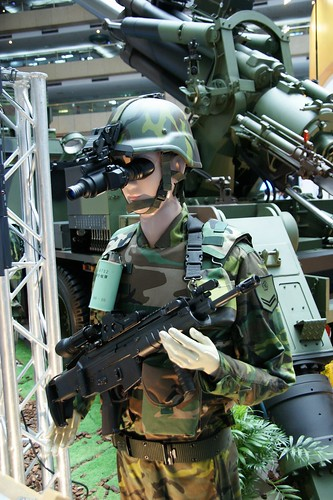 soldier with T97 assault rifle and TS96 night vision goggle