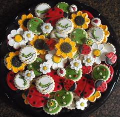 Lois Platter 3 (SweetSugarBelle) Tags: miniature spring cookie caterpillar sunflower daisy ladybug petitfour