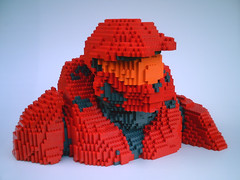 LEGO Halo RvB Sarge - front (dm_meister) Tags: red sculpture blood lego marathon helmet halo bust armor lifesize chronicles trilogy masterchief spartan sarge gulch rvb redvsblue