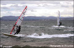 Pettycur Bay - Windsurfers (Dysartian) Tags: scotland shark edinburgh waves action fife sails kitesurfing windsurfing 1001nights pentlandhills kirkcaldy dysart kinghorn burntisland pettycurbay britainuk dysartian fekc photographybydysartian