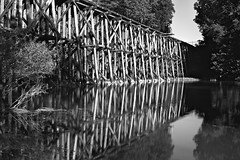Impounded reflection (rexp2) Tags: bridge reflection abandoned water mediumformat river flickr dam sunny bwblackandwhitebw sekonicl758dr filterpolarizer efkepl100 filtertiffenredtricolorwratten25 horseman90mmf56lens