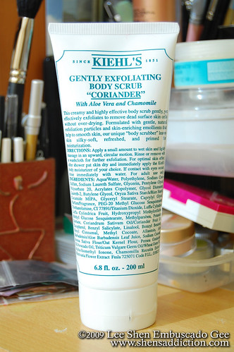 "kiehl's genly exfoliating body scrub ""coriander"" by you."