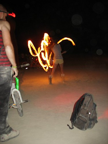 fire spinner outside bass camp