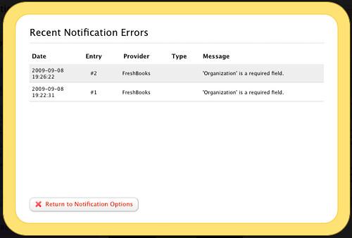 Recent Notification Errors