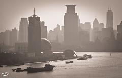 Shanghai (Blick über Huangpu-Fluss) (art180) Tags: china city silhouette skyscraper river abend shadows gloomy skyscrapers shanghai ships grau boote christian stadt pudong ufer fluss schatten chang schiffe metropole hochhaus jiang huangpu wolkenkratzer schifffahrt hochhäuser düster michelbach farblos flus cremig art180 ungesättigt