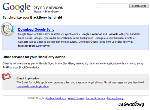 Sync your BlackBerry with Google Sync Services - i'm saimatkong