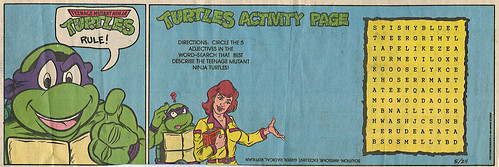 Teenage Mutant Ninja Turtles { newspaper strip, Word Search }   ..art by Berger :: 05241992