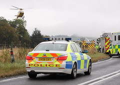 13.15pm Two car accident, Inverurie to Oldmeldrum (Szmytke) Tags: car fire scotland aberdeenshire serious crash accident police ambulance helicopter doctor medic inverurie rta oldmeldrum airambulance b9170
