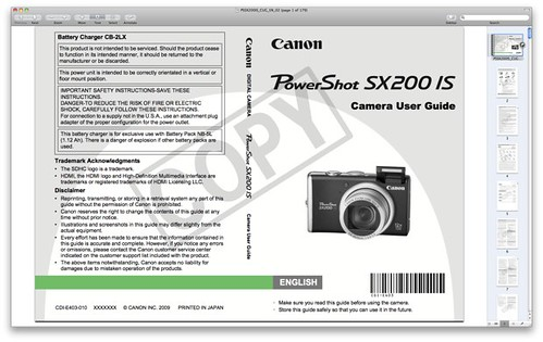 Canon SX200 IS Manual