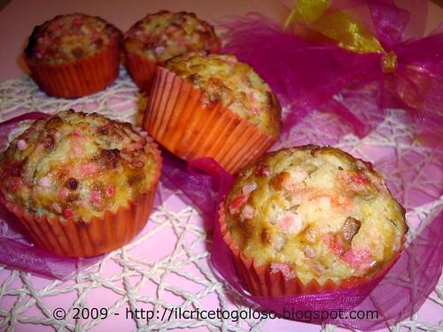 Muffins con chips di banane e zucchero rosa (3)