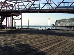 Wood Planks Over Water (fewstingscorpio) Tags: seattle water architecture boats outdoors bay washington scenery waterfront piers pacificnorthwest elliotbay saltwater