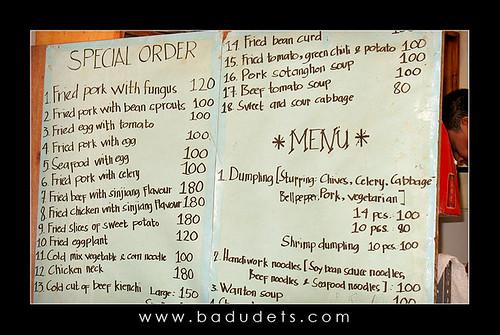Dong Bei menu