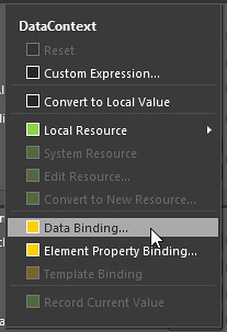 Data binding menu item