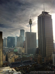 Hazy Sydney, NSW, Australia (Bass Photography) Tags: city tower sydney nsw newsouthwales townhall qvb citibank sofitel queenvictoriabuilding hiltonhotel georgefstreet